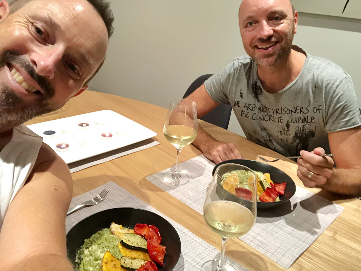 Matthew and Brett enjoying the Pesto Risotto recipe
